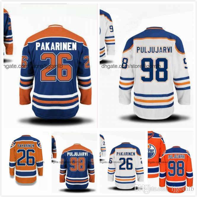 buy popular 02515 ea672 Iiro Pakarinen Jersey 26 Matt Benning 83 Jesse Puljujarvi 98 Ryan Strome 18  Yohann Auvitu 81 Hockey Jerseys Edmonton Oilers Stitched S-3XL
