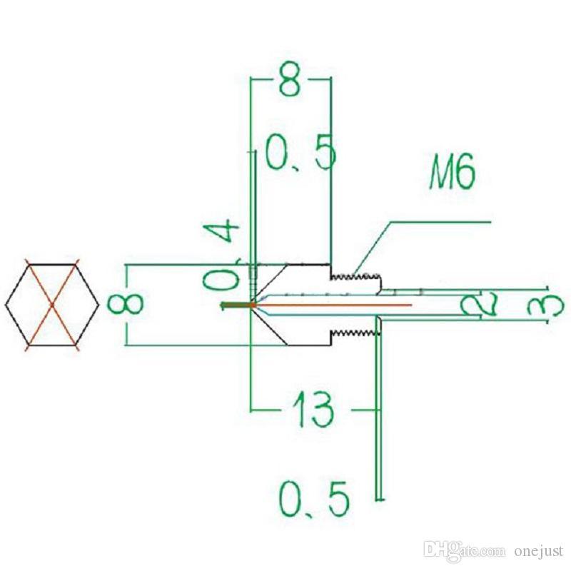 Makerbot MK8 3D 프린터 용 0.2mm 0.3mm 0.4mm 0.5mm 구리 압출기 노즐 프린트 헤드 B00044