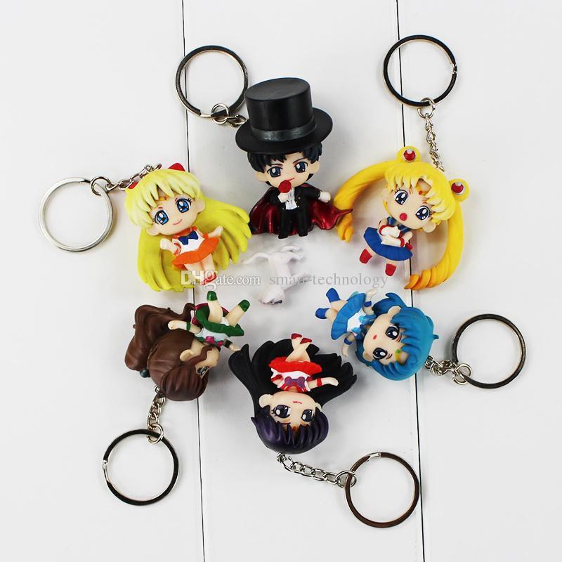 Anime Dos Desenhos Animados Sailor Moon chaveiro Máscara Do Smoking chaveiro chave anel de ação figura brinquedo PVC bonecas de presente de Natal de aniversário