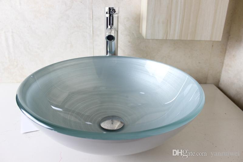 Acquista bacino di vetro vanità lavandino del bagno lavabo lavandino