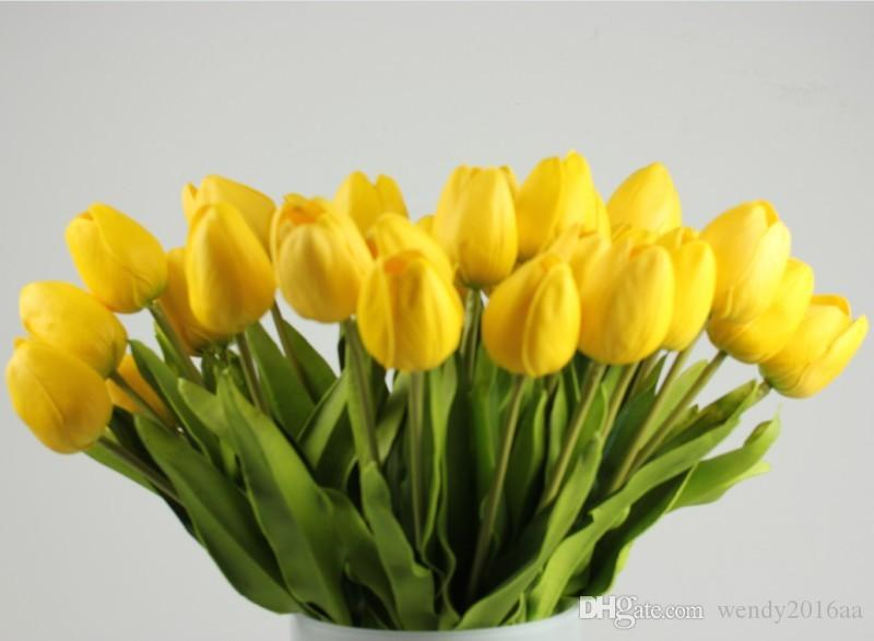 Latex Real Touch Tulip Artificial Flower Bouquet for Wedding Party Home Decoration Products