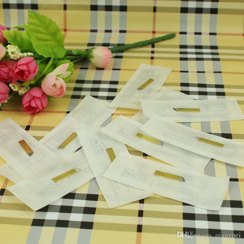 100 unids PCD 12 Pin Maquillaje Permanente Ceja Tatoo Blade Microblading Agujas Para 3D Bordado Manual Tattoo Pen
