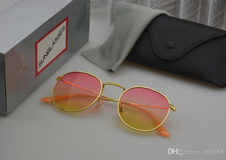 Lunettes de soleil rondes en métal Designer Eyewear Or lentille en verre flash pour hommes Femmes lunettes de soleil miroir