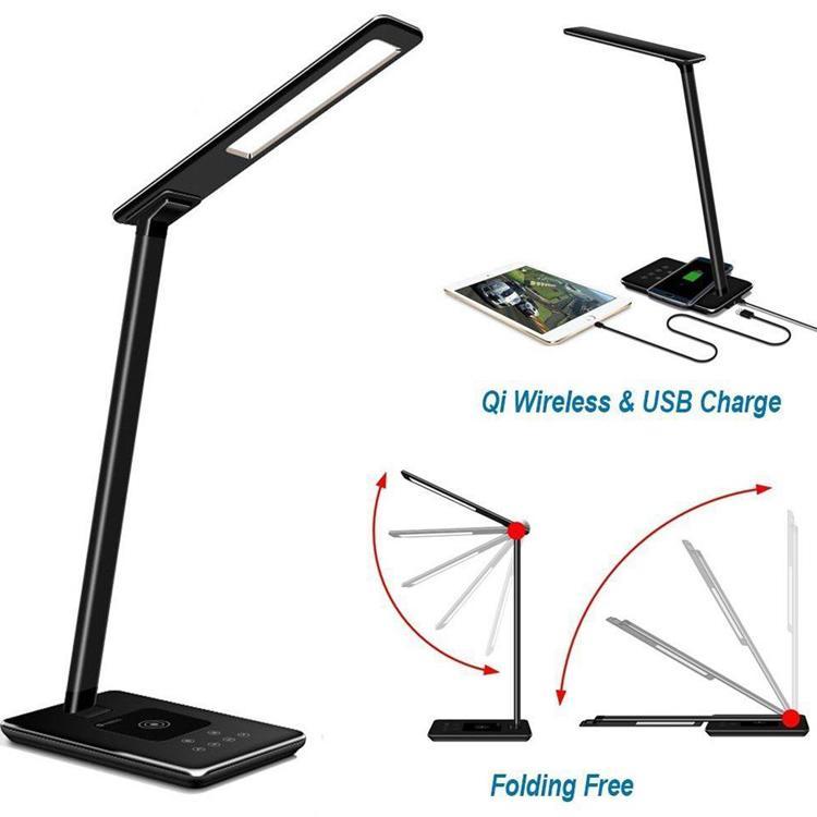 أضواء مكتب الصمام مصابيح الطاولة قابلة للطي العين 4 ضوء اللون درجة حرارة الكتاب ضوء مع شاحن سطح المكتب اللاسلكي USB الشحن