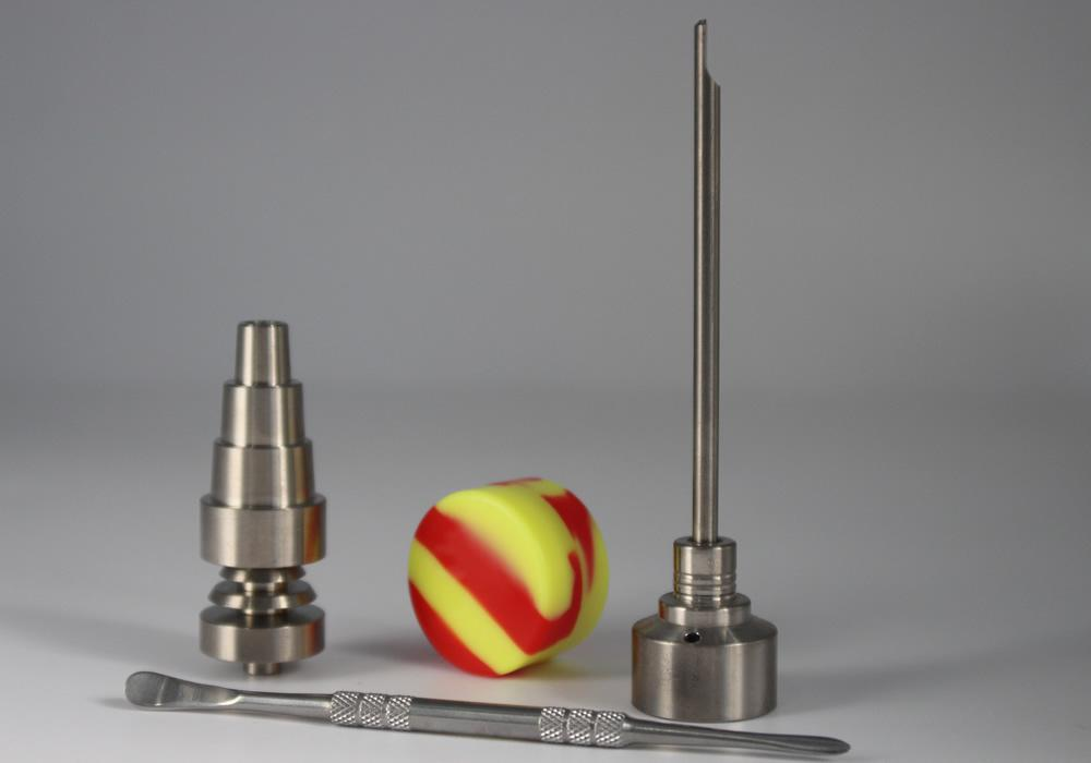 Bongs Tool Set with Titanium Nail Carb Cap 10mm 14mm 19mm Male joint Ti Nail Dabber Slicone Jar Dab For Glass Bong DHL