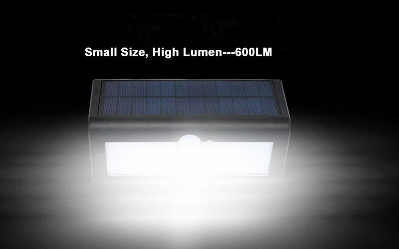 Énergie solaire lumière extérieure à micro-ondes capteur radar murale à LED Lampe de jardin ABS + PC Cover 1000lm ampoule étanche