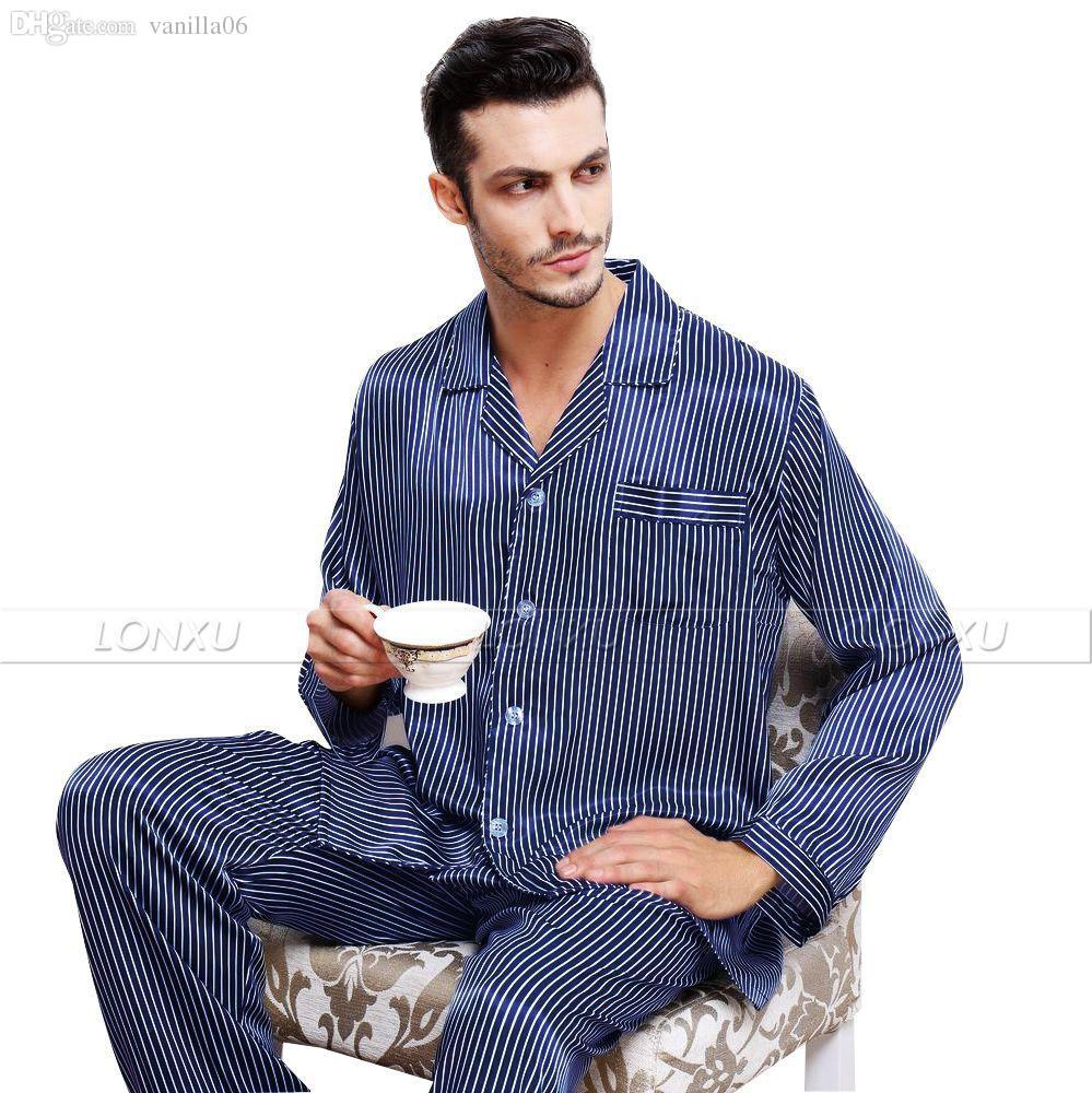 47b5691962 2019 Wholesale Mens Silk Satin Pajamas Set Pajama Pyjamas PJS Sleepwear Set  Loungewear U.S