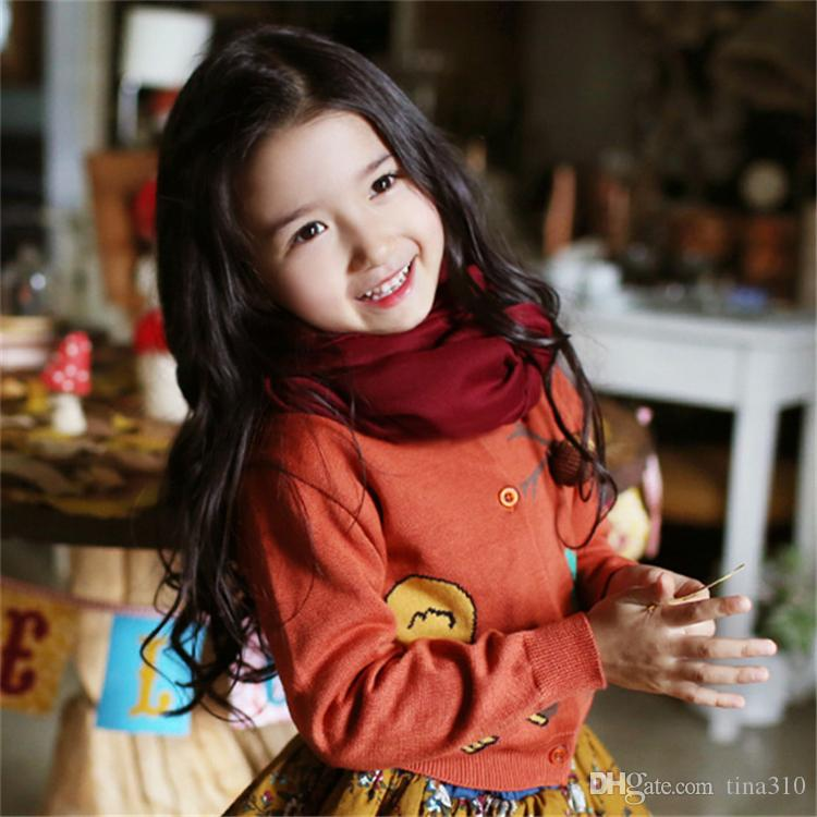Baby Children Scarve Scarf Winter Boys Girls Neckerchief Panda Raccoons Geometric Muffler Scarves For Kids Clothing Accessories B0660