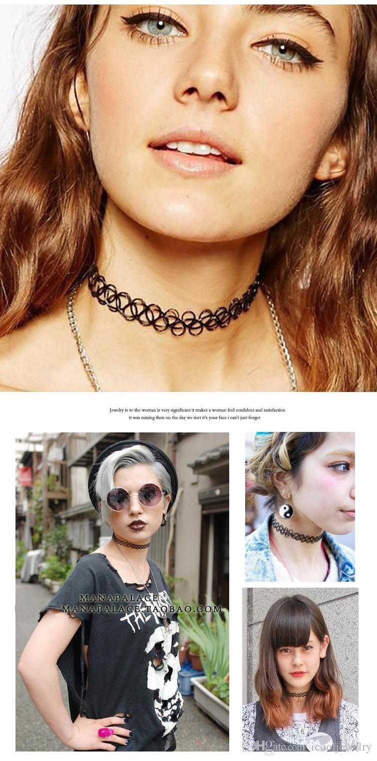 Collares Vintage Streç Dövme Gerdanlık Kolye Punk Kadınlar için Retro Gotik Elastik Kolye Kolye Lady LeonThe Profesyonel Collares