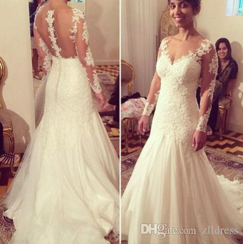Couture Wedding Dresses With Long Sleeves Mermaid Tulle