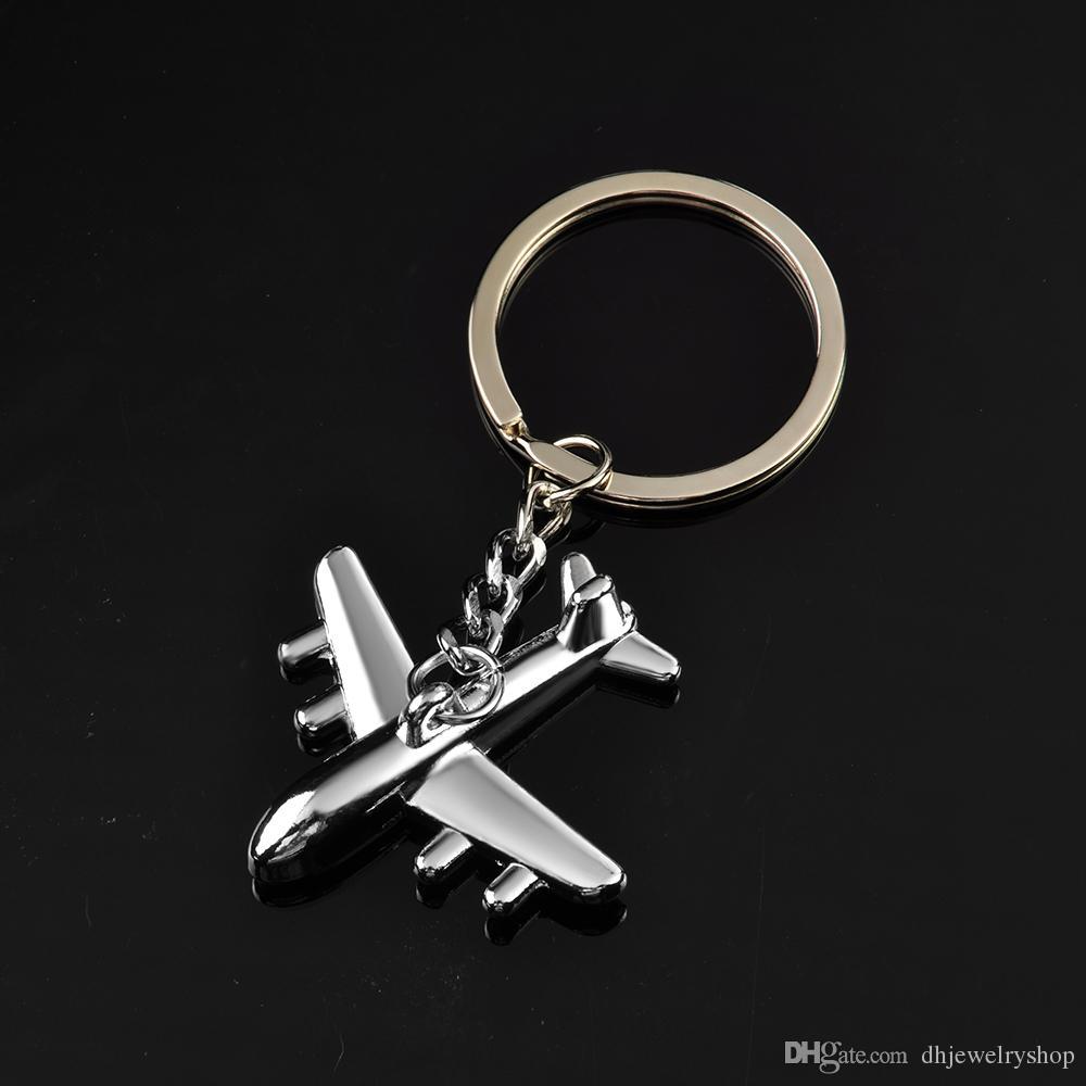 Classtic Fashion Collection 3D Silver Aircraft Titanium Key Chain Car Keychain Ring Keyfob Metal Keyrings