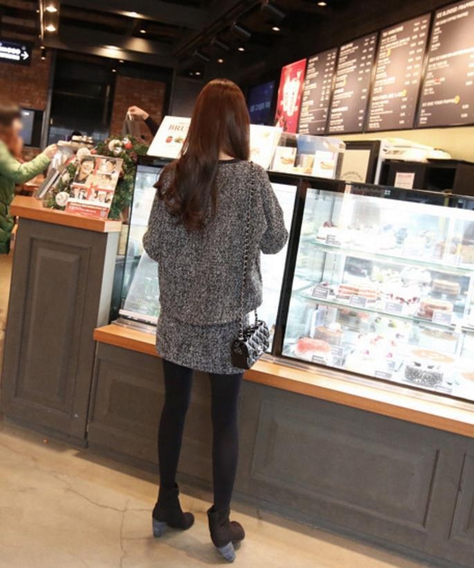 TWO Piece Woolen Dress Women Long Sleeve O Neck T Shirt Pullover Hoodie Package Hip Sexy Warm Autumn Woman Dress Skirt