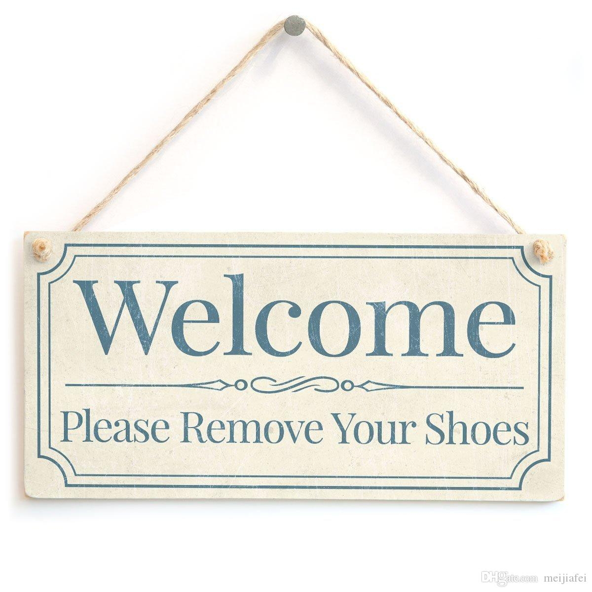 graphic about Please Remove Your Shoes Sign Printable Free titled Meijiafei Welcome Be sure to Eliminate Your Sneakers - House Accent Present Indication / Plaque For Household Front Vestibule 10 x5