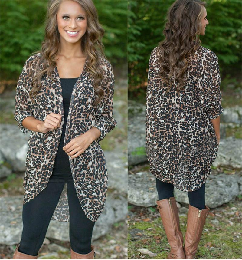 2018 2016 Summer Chiffon Cardigan In Women Long Leopard Cardigan ...