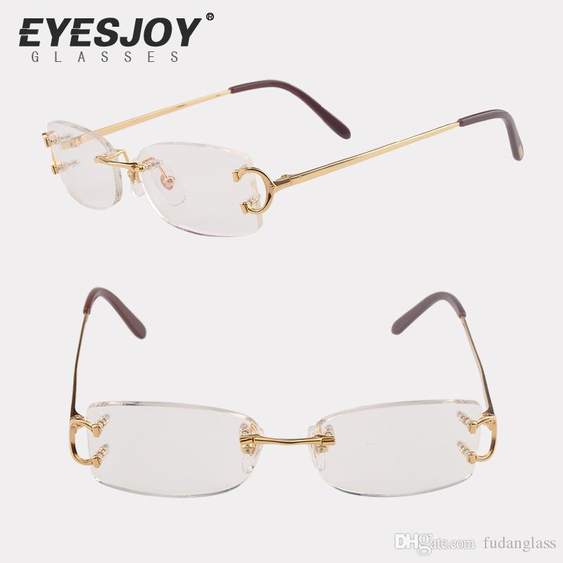 Eyeglasses Metal Frame Glasses Rimless Frame For Men Women Gold ...