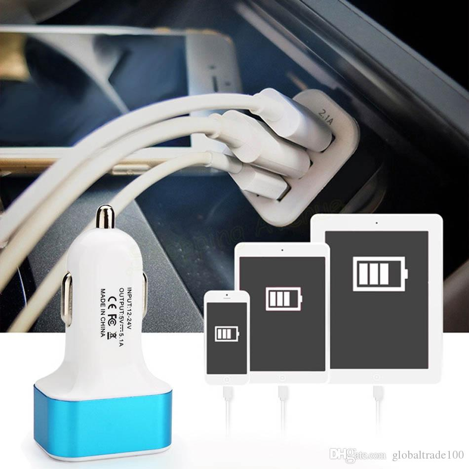 Triplo Universal USB Car Charger 3 Port-Adaptador de Carregador de carro Tomada 2A 2.1A 1A Car Styling Carregador USB 100 pçs / lote Frete Grátis DHL