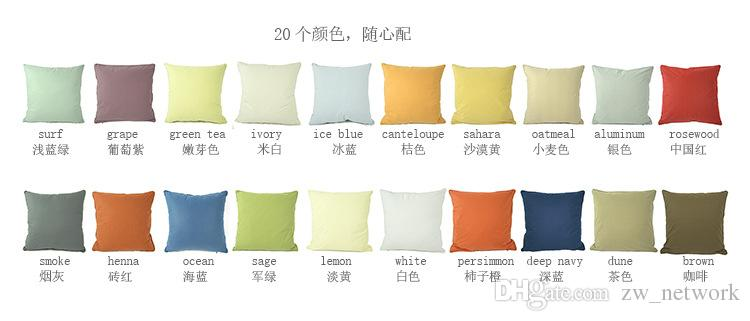 SF EXPRESS 100% Pull Plush Cotton Solid Pillow Case Office Waist Sofa Cushion Cover Soft Cozy Solid Pillow Case