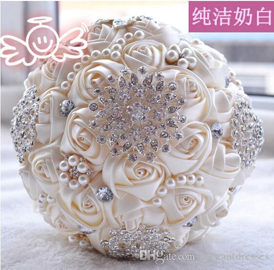2021 más nueva novia de la boda Ramos de flores hechas a mano con repiques Crystal Rhinestone boda de Rose novia suministra Holding broche del ramo