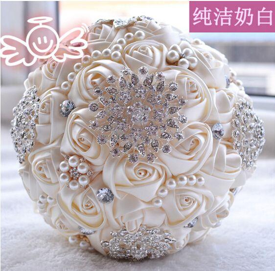 El Çiçekler peals Kristal Rhinestone Rose Wedding ile 2021 Yeni Düğün Gelin Buketleri Gelin Holding Broş buket Malzemeleri