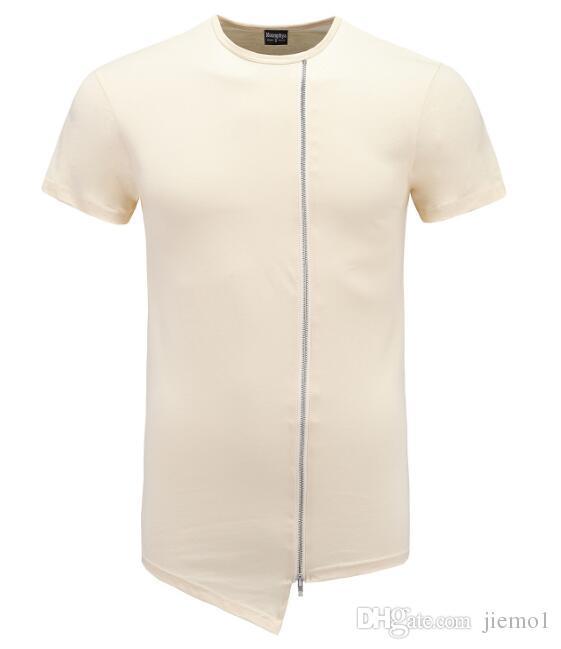 2017 косой длинные Майка мужчины хип-хоп черный футболка ярус удлиненная футболка для мужчин молния топы над размер уличная футболка