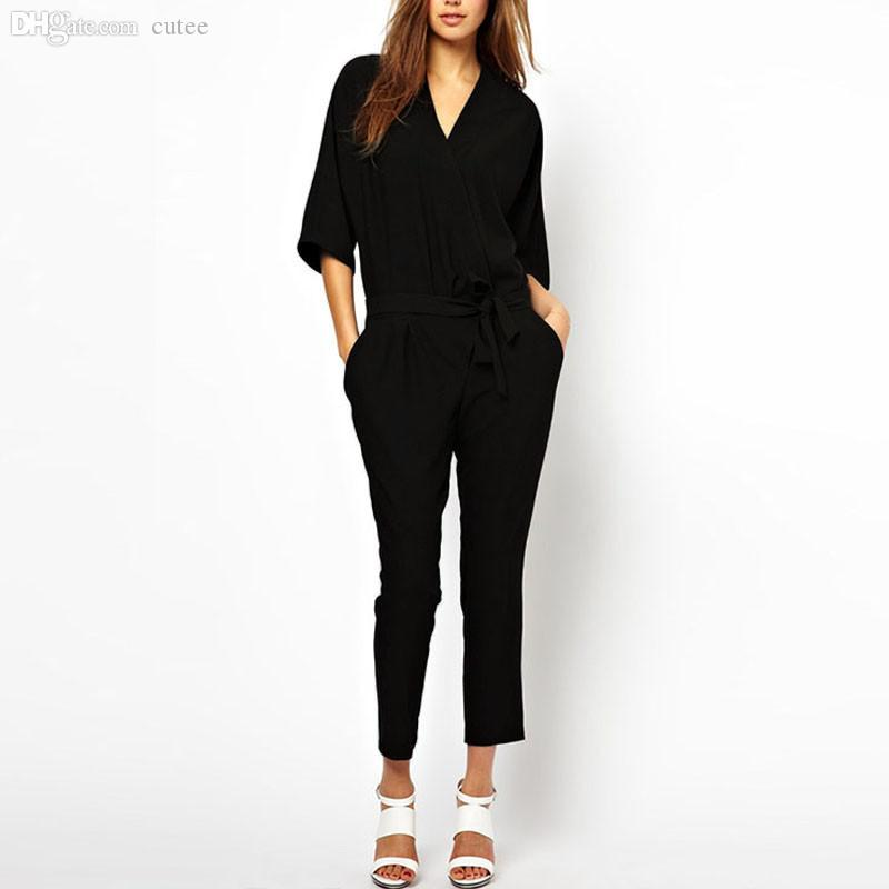 af60fb909 2019 Wholesale New Summer Casual Womens Rompers 2016 Black V Neck Long  Sleeve Rompers Office Feminino One Piece Loose Jumpsuits Coveralls S 4XL  From Cutee, ...