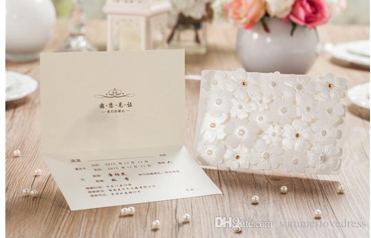 2016 Yeni Yaratıcı 3D Çiçek Düğün Davetiyeleri Boncuklu Pembe Beyaz Iş Parti Davetiyeleri Kartları Düğün Suppies Özel Made