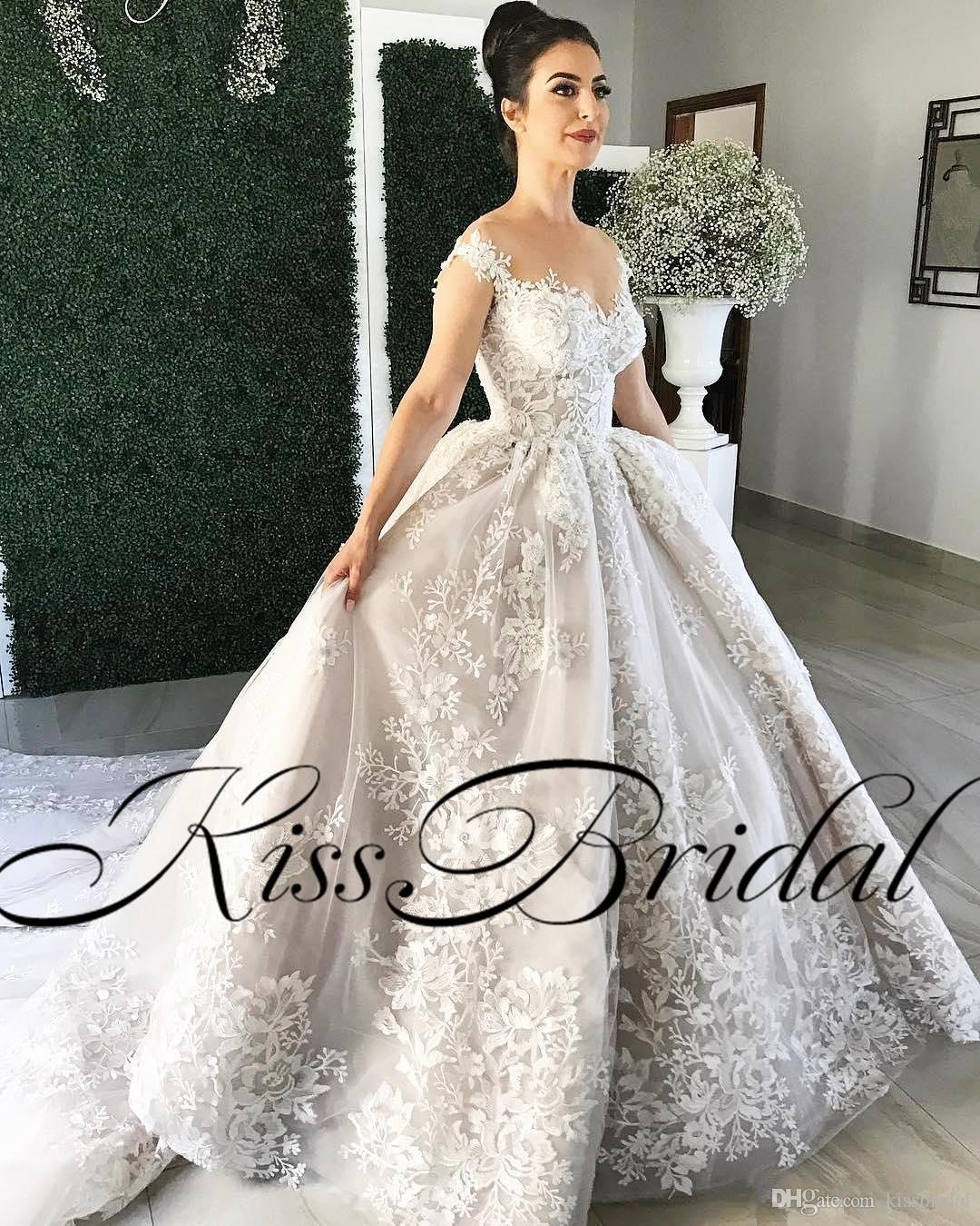 Бальное платье пышное часовня поезд кружево аппликация свадебные платья с закрытыми пуговицами свадебные платья роскошные арабские платья