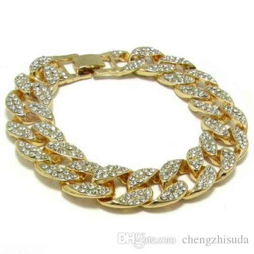 Men Luxury Simulated Diamond Bracelets Bangles High Quality Gold Plated Iced Out Miami Cuban Bracelet 6/7/8/9/10inches