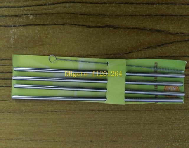 / 무료 배송 6x215mm 스트레이트 스테인레스 스틸 마시는 빨대 빨 + 브러시 소매 패키지와 함께 설정