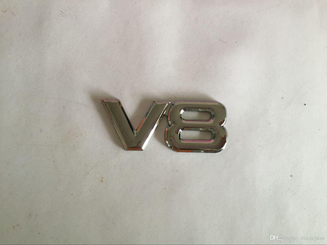 3D Métal V8 emblèmes Badges Voiture Autocollants Car styling noir et argent