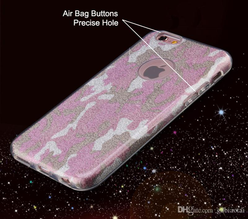 For iPhone 5 5s 6 6s 6sPlus Rugged Camouflage Glitter Case Shockproof Hybrid Cover Case TPU+PC