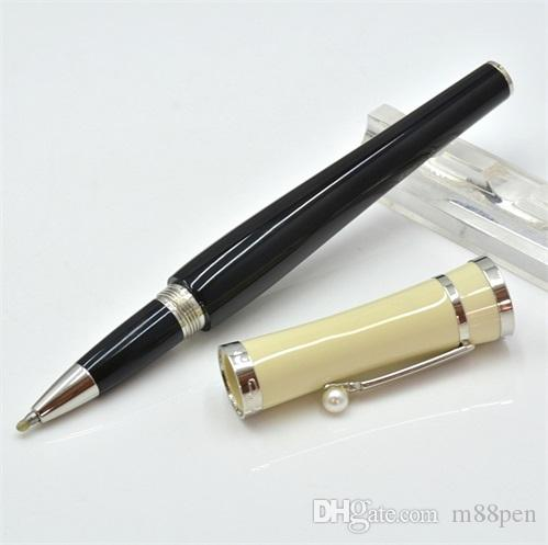 Hot sale MB black and white resin Roller ball pen with star school office stationery luxury brand Writing ball pens for Gift M8