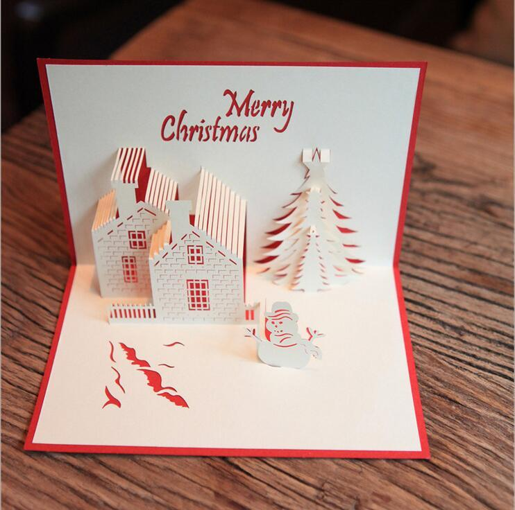 christmas cards 3d pop up merry christmas series handmade custom greeting cards christmas gifts