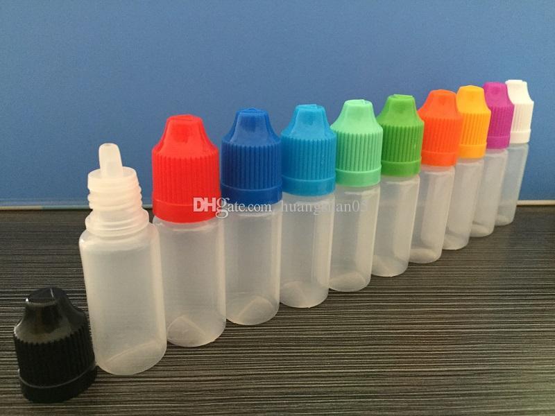DHL 무료 E 액체 짧은 팁 병 5ml 10ml 15ml 20ml 30ml 50ml 60ml 100ml 120ml 플라스틱 Dropper Bottles Child Proof Caps