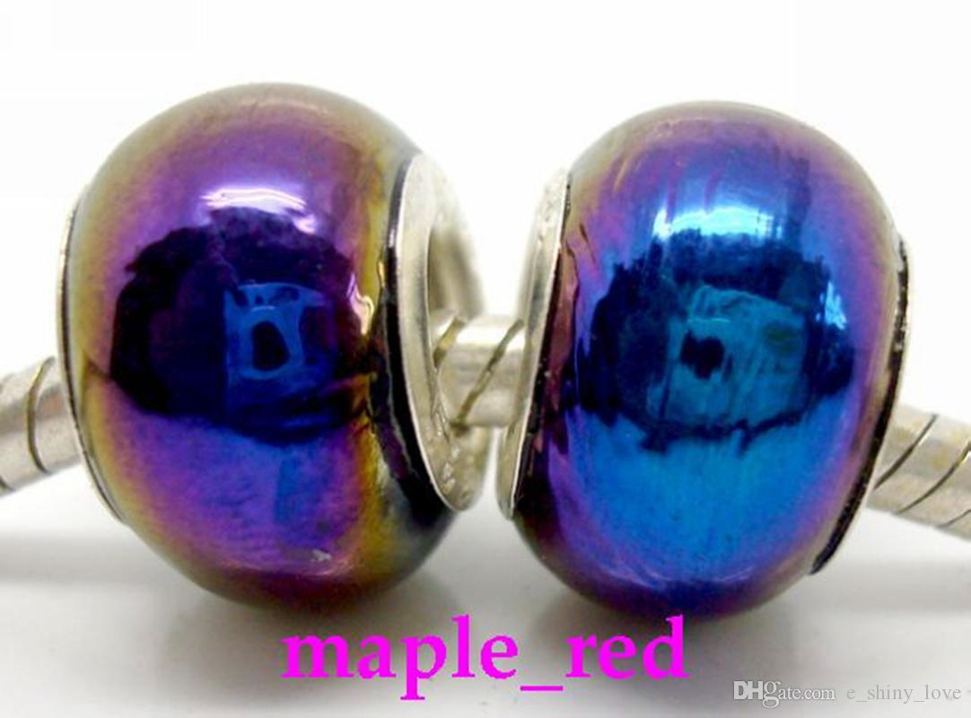 의 혼합 된 아름다운 색상 도금 AB Lampwork 유리 구슬 맞는 유럽 팔찌 도매 대량 저렴한 가격