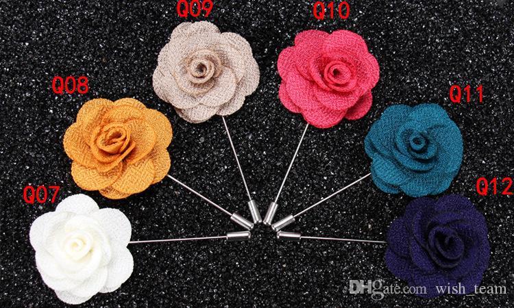 La mejor venta sola flor hombre mujer camelia hechos a mano Boutonniere broche pin accesorios de los hombres en es