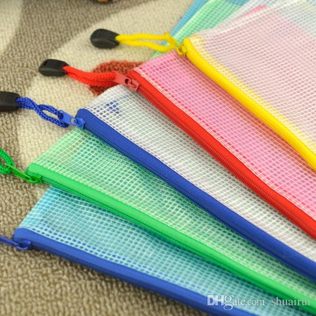 5 size set zipper cartoon plastic Waterproof Document pocket bill pouch file Pen Filing Pocket Folder Office & School Supplies
