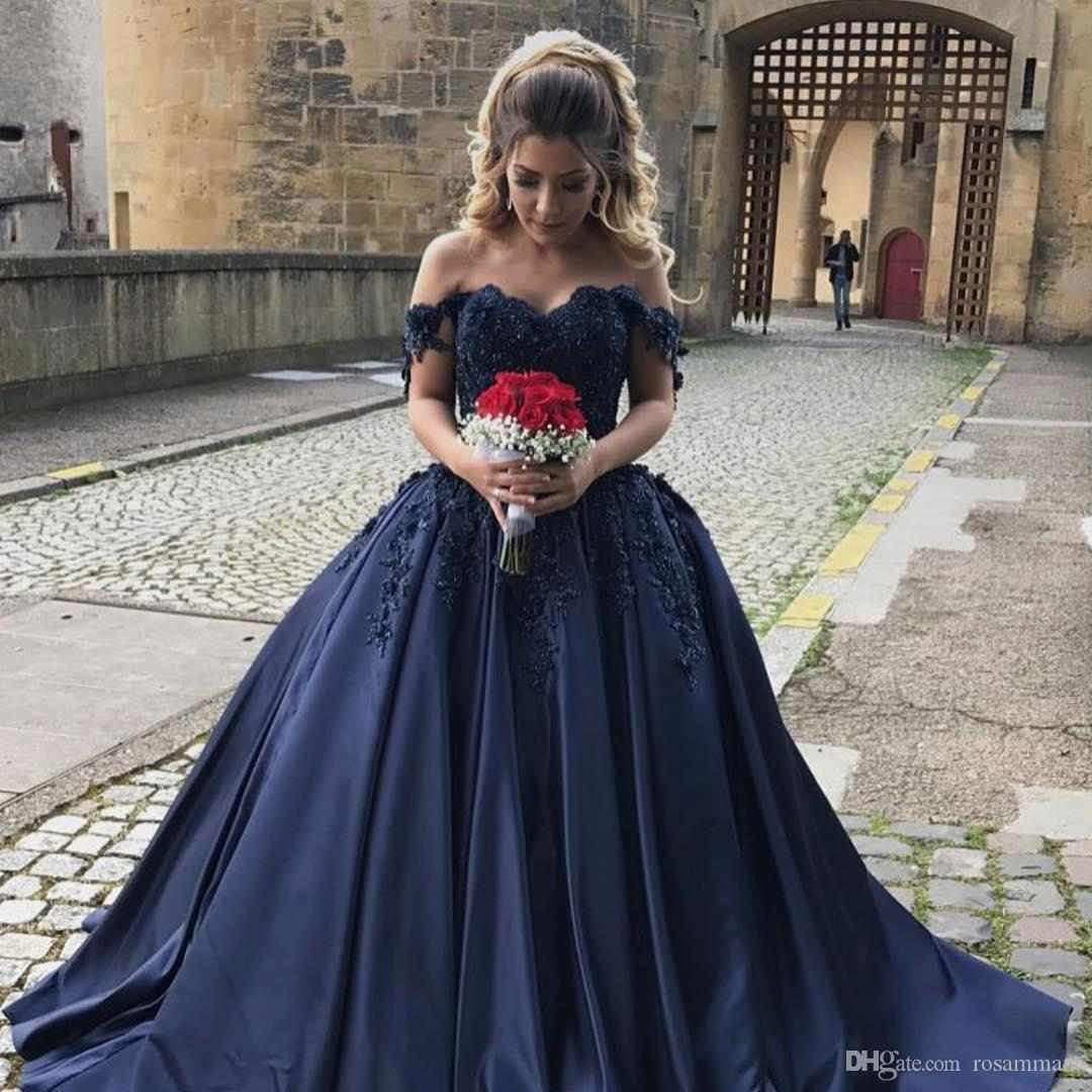 1f1d02d791a Navy Blue Prom Dresses Ball Gowns Off The Shoulder Long Sleeve Quinceanera  Dresses Applique Beading Bridal Dresses Cute 15 Dresses Dress Online Sale  From ...