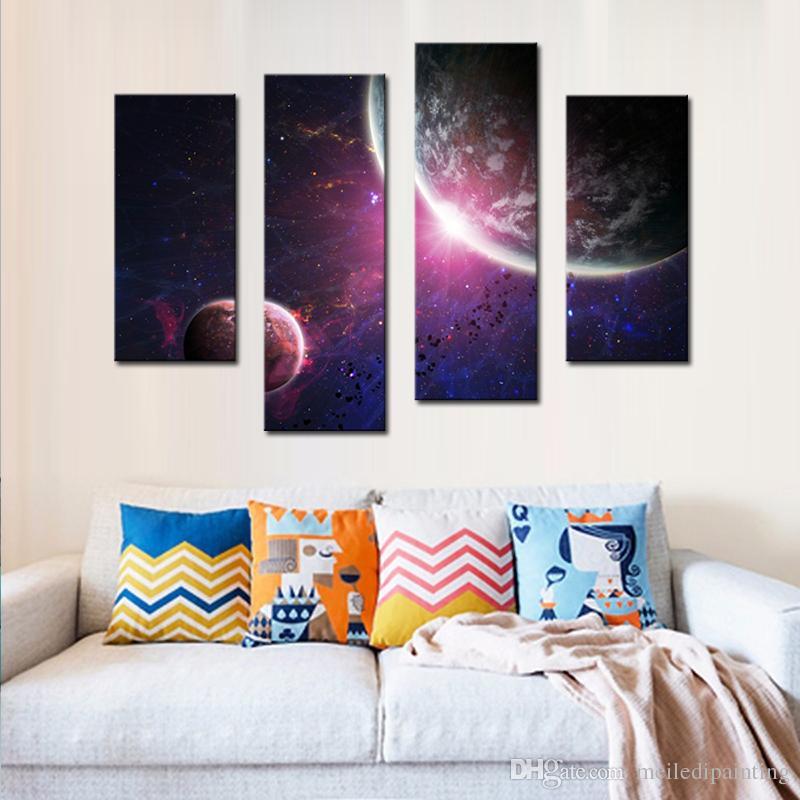 Amosi Art-4 Pièces Mur Art Pourpre Planètes du système solaire coloré Terre de Peinture Imprimé sur Toile pour la Maison de Décoration Moderne Cadre en Bois