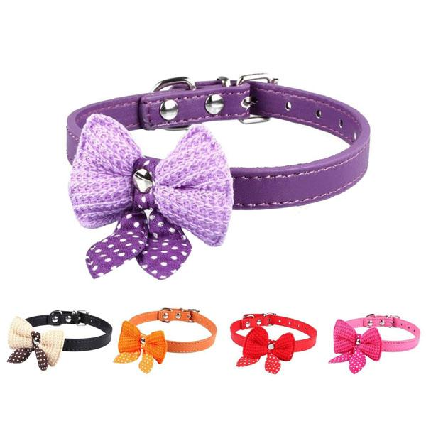 XS/S Bowknot Adjustable PU Leather Dog Puppy Pet Cat Collars Necklace Neck Lace