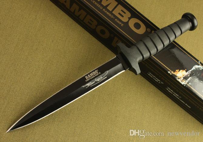Rambo de supervivencia de doble acción recta cuchillo de combate de caza del cuchillo rambo cuchillos acampar al aire libre con caja de embalaje original