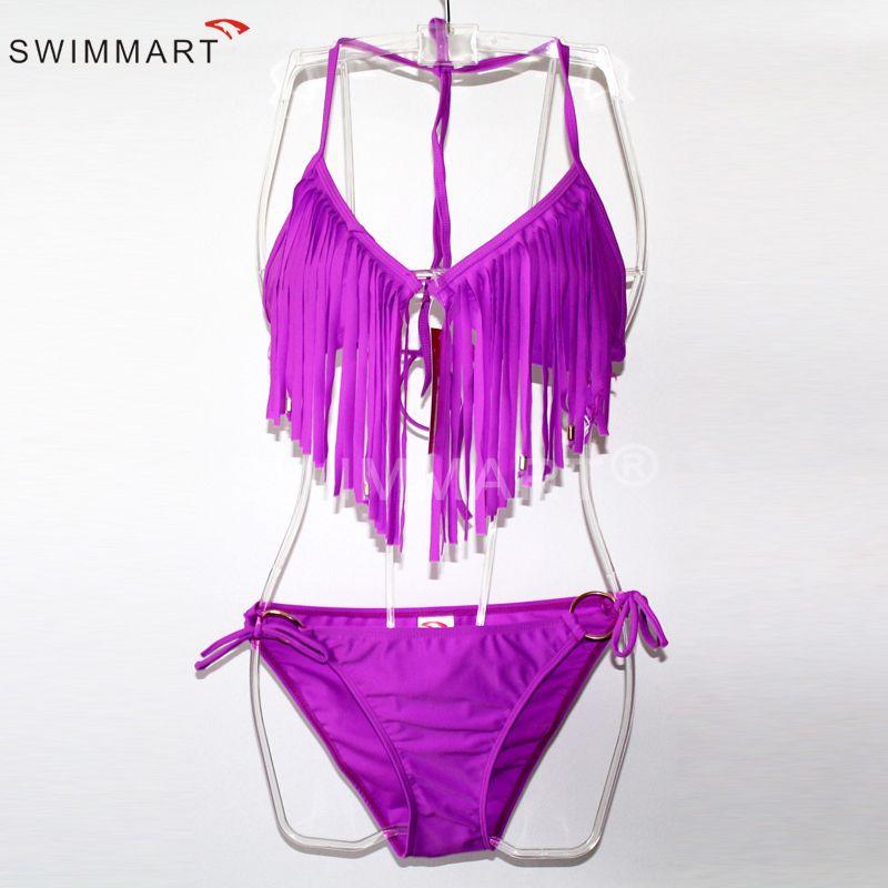 Fashion Sexy Bikinis Set Tassel Bikini Bra Push Up Sexy Beachwear Swimsuit Biquini Brazilian Swimwear Bathing Wear White Black Purple XL 051