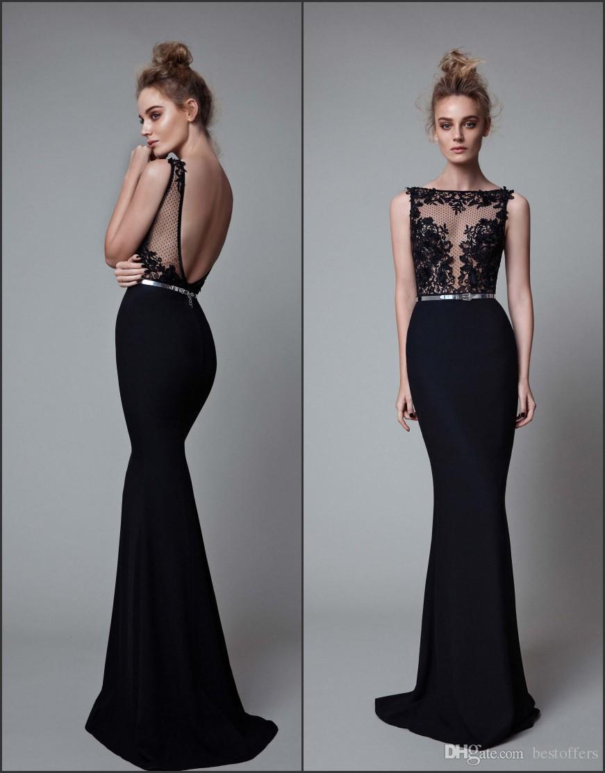 Sexy Berta Black Evening Dresses 2017 Sheer Jewel Neck With Beads ...