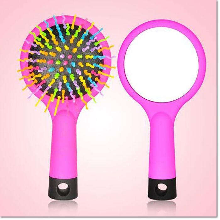 Venda quente de alta Qualidade Rainbow Volume Anti-estático Magia Onda de Cabelo Em Linha Reta Massagem Pente Escova Ferramentas de Estilo Com Espelho para a menina e as mulheres