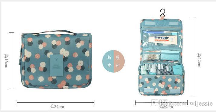 Fashion Cute Lady's Dot Pattern Makeup Case Double Layer Cosmetic Hand Bag makeup Tool Storage Toiletry