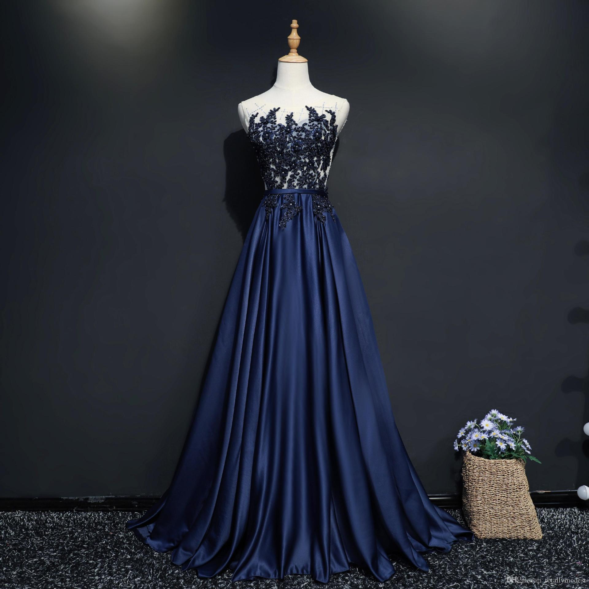 fa933a9f7b9 2018 New Dark Navy Blue Long Prom Dresses With Satin Skirt In A Line Shape  Beaded Lace Top Illusion Back Teens Formal Party Dress Custom Prom Dress  Sites ...