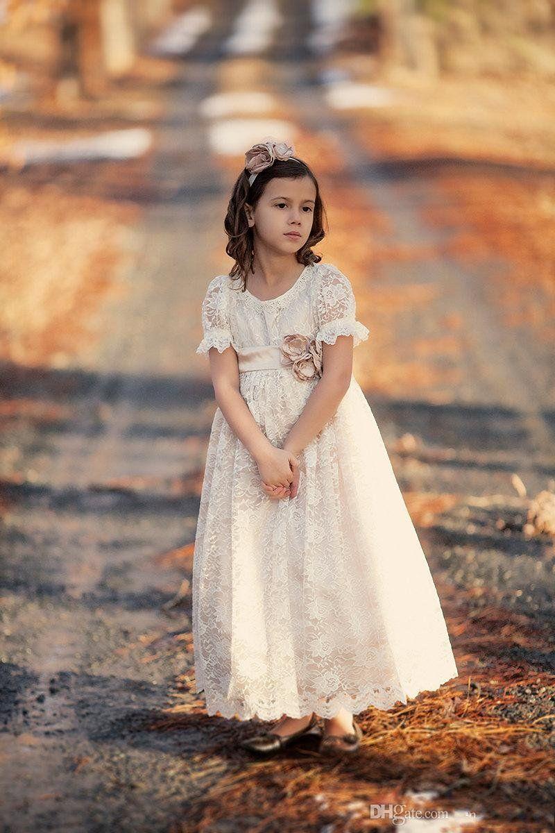2016 Girls Dresses Special Occasion 빈티지 레이스 꽃의 소녀 드레스 공주님의 반팔 지퍼 보우 타이의 새틴 바닥의 길이 성령의 복장