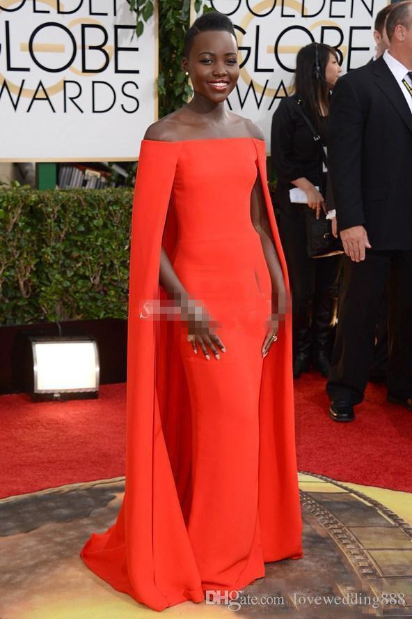 2018 Abendkleider für schwarze Mädchen Red Capet Celebrity Kleider Golden Globe Award Lupita Cape Korallen Mantel lange formale Kleid