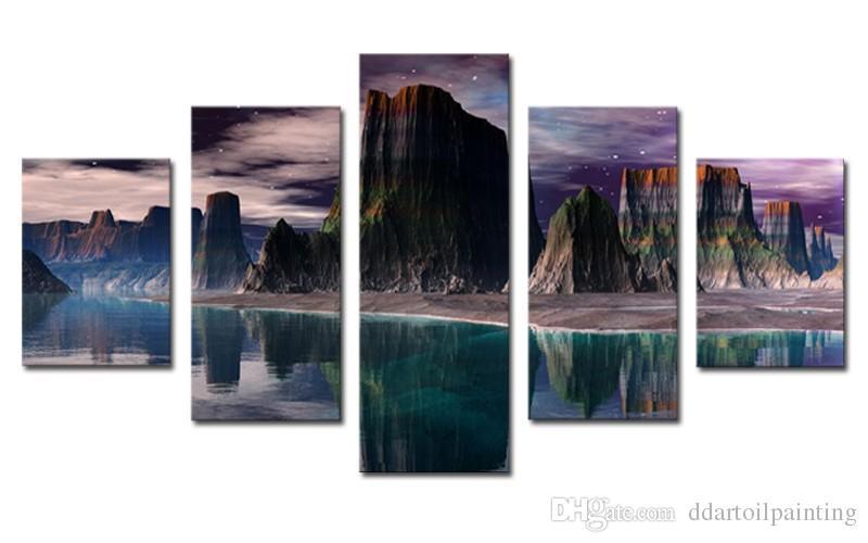 5 패널 HD 아름다운 산과 녹색 호수 캔버스 인쇄 유화 벽 아트 그림 미술 작품 Unframed
