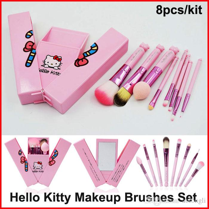 Newest Hello Kitty Makeup Brush Kit With Mirror Mini Makeup Brushes Pink Toiletry Beauty Appliances 8pcs Set Cosmetics Brushes Kids Gift